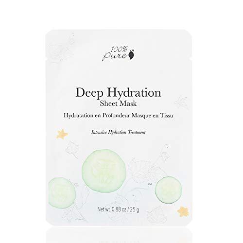 100% PURE Sheet Mask: Deep Hydration (Single Mask), Full Face Sheet Mask, Bamboo Face Mask, Hydrates, Moisturizes, Reduces Skin Irritants, Sustainably Made - 1 PIECE