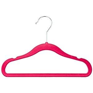 Amazon Basics Kids Velvet Non-Slip Clothes Hangers, Pink – Pack of 30
