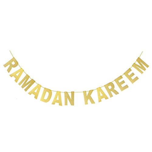 Cianowegy Gold Glitter Banner - Ramadan Kareem - Golden Letters Hanging Banners Eid Festival Party Decoration