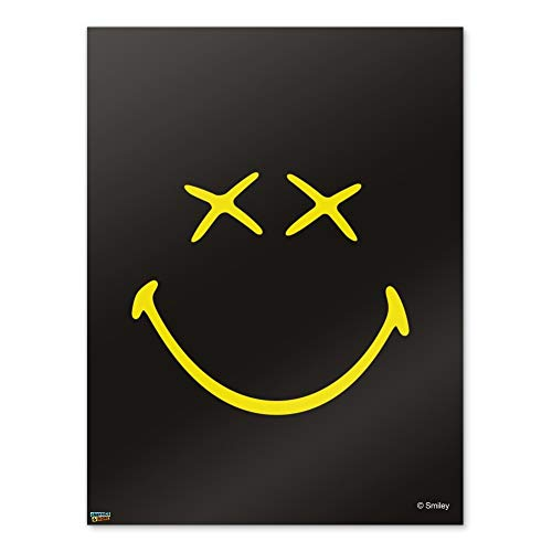 Graphics and More Smiley Smile Dead Happy Black Yellow Face Home Business Office Sign - Poster - 18