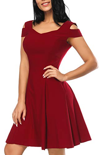Casual Cocktail Dress for Women, Burgundy Formal Off