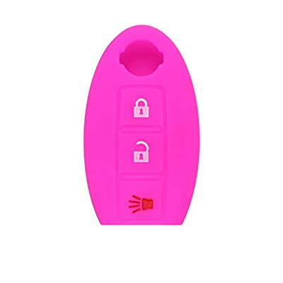 SEGADEN Silicone Cover Protector Case Skin Jacket fit for NISSAN 3 Button Smart Remote Key Fob CV9501 Rose: Automotive