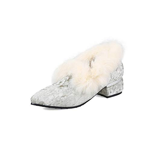 Gris de ZHZNVX PU Tacón Grueso Gray Poliuretano Zapatos de Bomba Talones Café Mujer Invierno de Rosa básicos OqwfB5