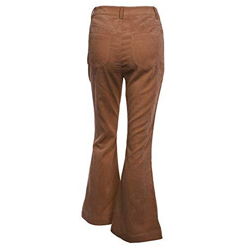 DY coperate Women High Waist Bell Bottoms Casual Corduroy Slim Fit Wide Leg Pants (Large, Khaki)