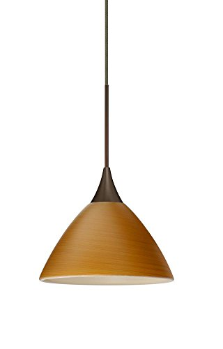 Besa Lighting RXP-1743OK-BR Domi Collection 1-Light Rail-Ready Mini-Pendant Element, Bronze Finish with Oak Art Glass Shade and Bronze Rail Adapter