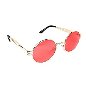 WebDeals - Round Circle Vintage Metal Sunglasses Eyeglasses Bold Design Decorated Frame and Nose Piece (Gold, Pink)