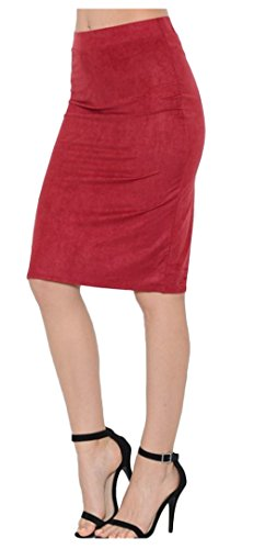 Tabeez Women's Luxe Faux Suede Knee-Length Modest A-Line Swing and Straight Pencil Skirt (Fur Pencil Skirt)