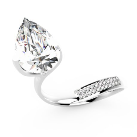 ZIGZAG PEAR Bagues Or Blanc 18 carats Saphir Blanc 0,6 Rond