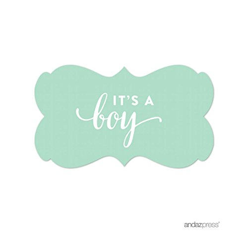 Boy Party Mints - Andaz Press Fancy Frame Rectangular Label Stickers, It's a Boy!, Mint Green, 36-Pack