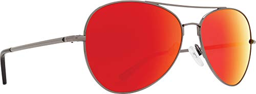 Spy Optics Whistler Aviator Sunglasses, Gunmetal/Happy Gray/Green/Red Spectra, 1.5 mm