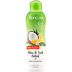 TropiClean Neem and Citrus Dog Shampoo, Safe and Effective Soothing Relief from Itching and Irritation Due to Fleas and Ticks, 20 oz.