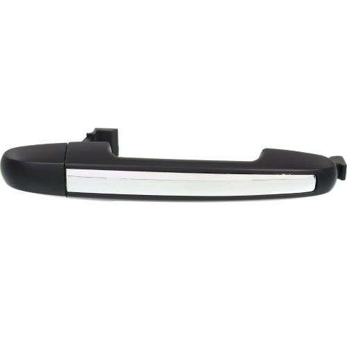 Exterior Rear Door Handle Compatible with HYUNDAI SONATA 2006-2010 RH=LH Black with Chrome Insert Plastic ()