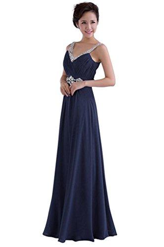 Promkleid Edaier Chiffon Korsett Damen Abendkleid Formal Straps Lange Dunkelblau zurück wIqIrFY