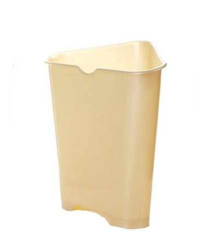 Trash Can Hflove Triangle Kitchen Plastic Corner Kitchen Trash Bin (Beige)