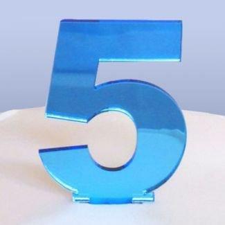 Candela Per Torta A Forma Di Numero 5 Colore Blu A Specchio