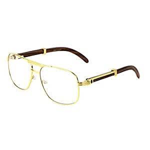 Executive Metal & Wood Aviator Eyeglasses / Clear Lens Sunglasses - Frames (Gold & Dark Brown Wood, Clear)