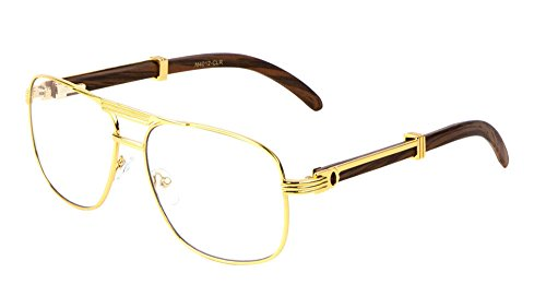 Executive Metal & Wood Aviator Eyeglasses / Clear Lens Sunglasses - Frames (Gold & Dark Brown Wood, - Glasses Wood Frames