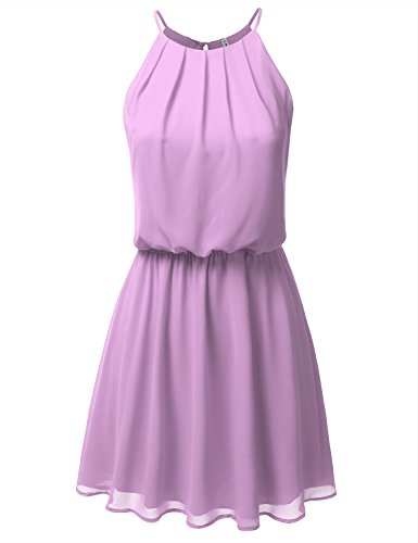 JJ Perfection Women's Sleeveless Double-Layered Pleated Mini Chiffon Dress Lavender 2XL -
