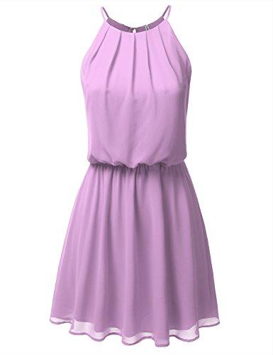 JJ Perfection Women's Sleeveless Double-Layered Pleated Mini Chiffon Dress Lavender ()