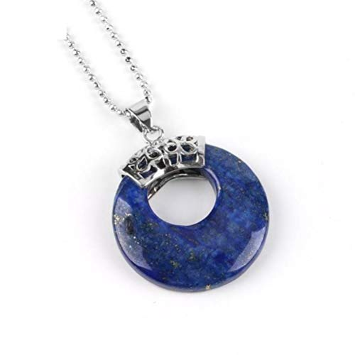 Lapis Donut Lazuli - CosMos777 Hollow Out Circle Healing Natural Gem Stone Necklace and Pendants Unisex Jewelry