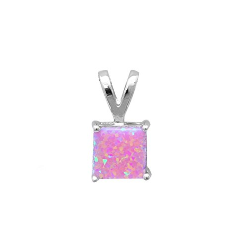Blue Apple Co. Solitaire Wedding Pendant Charm for Necklace Princess Cut Square Pink Opal 925 Sterling Silver (Opal Square Charm)