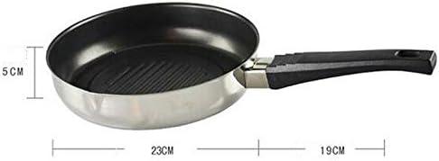 Shooyoo Poêle à Frire, Poêle à Frire antiadhésive Steak en Acier Inoxydable Poêle à Tarte pour Omelette BBQ
