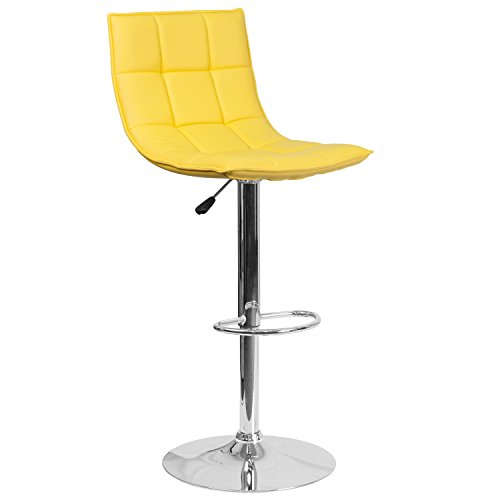 Flash Furniture Contemporary Yellow Quilted Vinyl Adjustable Height Barstool with Chrome Base Review