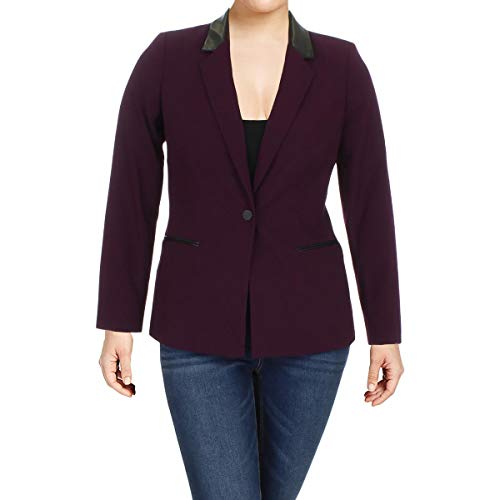 - Calvin Klein Women's Petite Faux-Leather-Trim Blazer (6P, Aubergine)