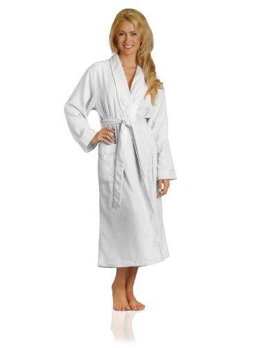 (Plush Necessities Luxury Spa Robe - Microfiber with Cotton Terry Lining, White,)