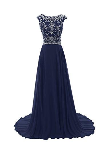 Diyouth 2015 Luxury Long Cap Sleeves Scoop Beaded Prom Dress Navy Size 6