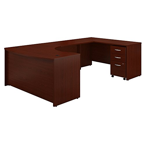 Bush Business Furniture Series C 60W Right Handed Bow Front U Shaped Desk with Mobile File Cabinet in Mahogany (Bush Mahogany Credenza)