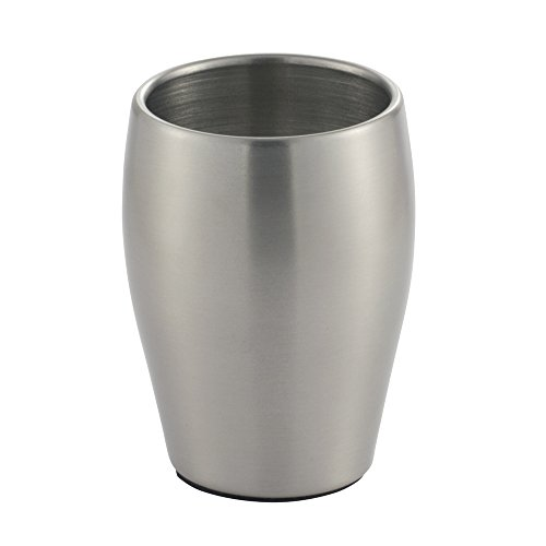 Vanity Cup (InterDesign Avery Tumbler Cup for Bathroom Vanity Countertops, Brushed Stainless steel)