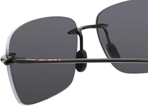 MAUI JIM BREAKWALL 422 422-02 Polarized Aviator Sunglasses, Gloss Black Frame/Polarized Neutral Grey, One Size
