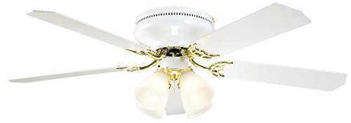 Litex BRC52WB5C Schuster Collection 52-Inch Ceiling Fan with Five Reversible White/Whitewash Blades and Four Light kit with Frosted-Ribbed Glass (15 White Ribbed Glass)