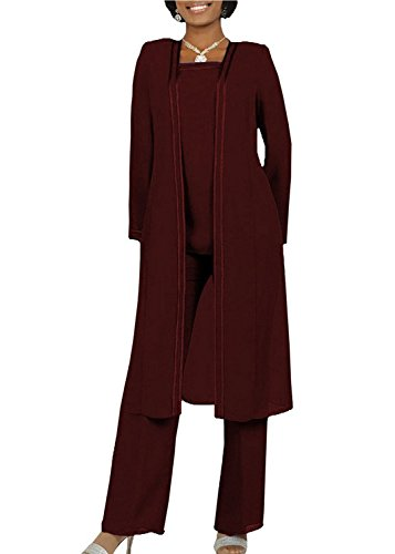 Pant Suits Plus Womens Size (Kelaixiang Long Sleeves Mother of The Bride Pant Suits Plus Size 3 Pieces (18 Plus, Burgundy))