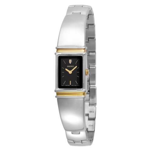 Black Dial Jewelry - Seiko Women's SUJG10 Jewelry Two-Tone Black Dial Bangle Watch