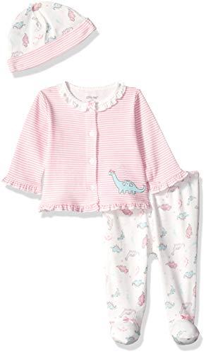 Little Me Baby Girls Cardigan Set, Sweet Dino Marshmallow/Sachet Pink/Multi, Newborn -