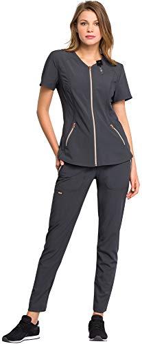 (Cherokee Statement Women's Scrub Set Bundle- CK795 V-Neck Zippered Top & CK055 Straight Leg Pant & MS Badge Reel (Pewter - Large/Large Petite))