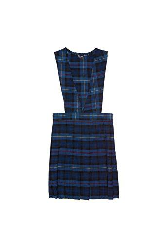 French Toast Big Girls' V-Neck Jumper, Blue/Red Plaid, 14 School Plaid Dress