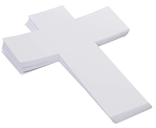 Genie Crafts 36-Pack White Paper Cross Cutouts for Kids Arts and Crafts, Church, and Sunday School, 16 x 12 Inches