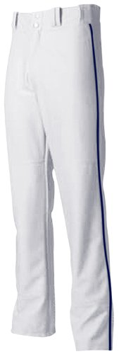 Adult Medium White with Navy Side Piping A4 Baseball/Softball Pants Pro Style Baggy with Side Color Piping