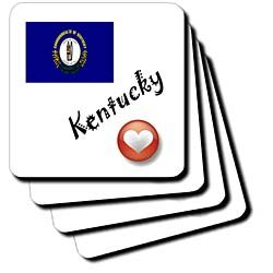 SmudgeArt State Flags for the USA - I Love Kentucky - Coasters