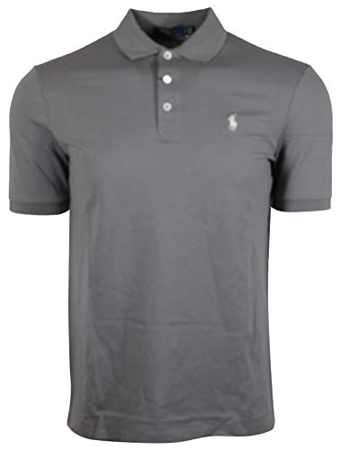 (Polo Ralph Lauren Mens Classic Fit Stretch Mesh Polo Shirt 3 Button (Small, Gray))