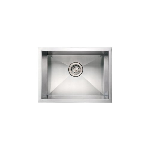 (Whitehaus WHNCM2015-BSS Noah's Collection 20-Inch Commercial Single Bowl Undermount Sink, Brushed Stainless Steel)
