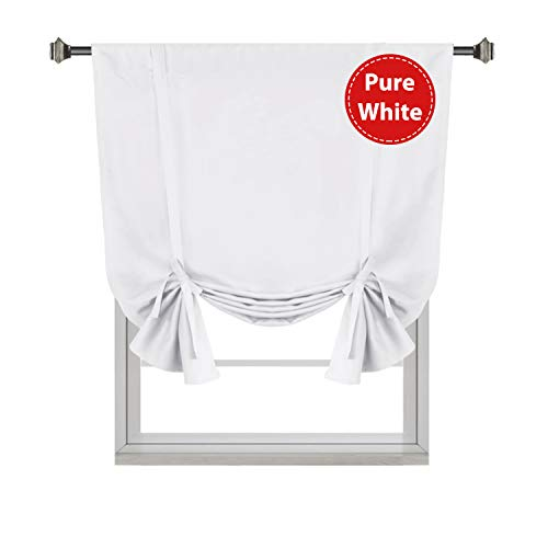 "Pure White Curtain Thermal Insulated Tie Up Window Shade Light Blocking Curtains for Bathroom, Rod Pocket Panel- 42"" Wide by 63"" Long"