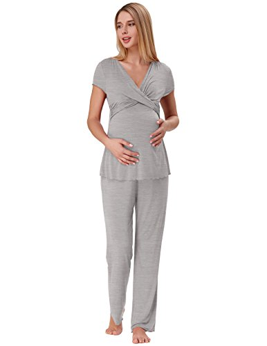 Zexxxy Pregnancy Clothing for Women Soft Nursing Pajama Set with Bottoms Grey M ZE45-2