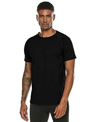 DAIKEN Men's Short Sleeve Performance Gym T-Shirt Athletic Wicking Active Tee Shirt(Black,XL) (Back Mesh Gym Performance)