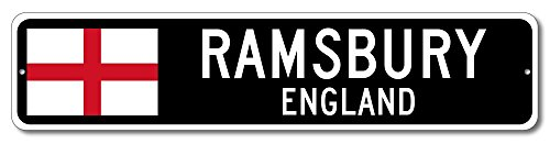 "England Flag Sign - RAMSBURY, ENGLAND - Custom City Flag Sign - 4""x18"" Inches"