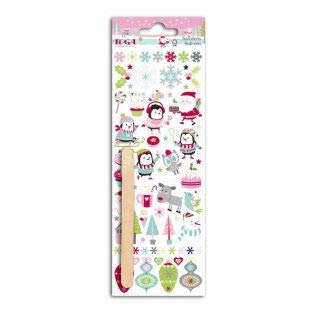 - Toga rop77Christmas at The North Pole Rub-Ons Novelty Transfer Tattoos Colourful Plastic Board 7.5x 23.5x 0.3cm