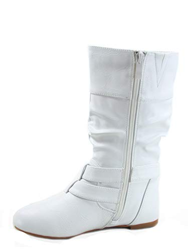 FZ-Sonny-54k Youth Girl's Fashion Low Heel Zipper Buckle Round Toe Riding Boot (1 B(M) US, -